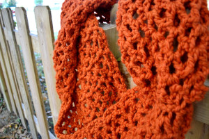 My pumpkin orange crochet cowl