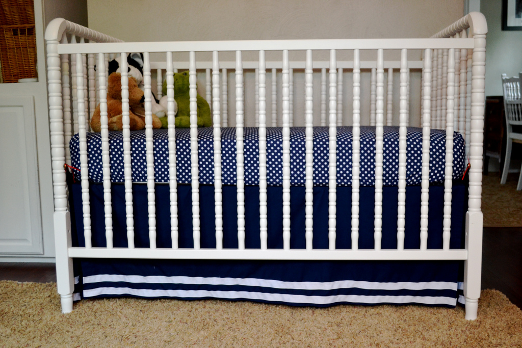 pleat navy box medium cribs inch crib and designs length deer skirt carousel gray