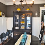 Dining room yellow and teal