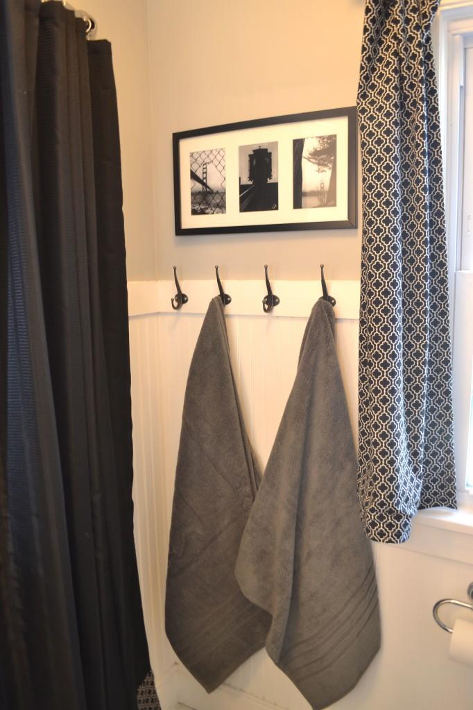 Black and white bathroom towel hooks artwork fabric1