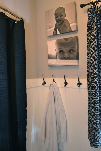 Bathroom Pictures And Canvases : Black and white custom canvases for the bathroom