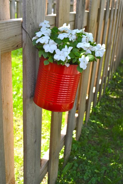 Making fence planters from cans newlywoodwards - Flower planters for fences ...