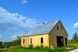 True board and batten barn siding (Barn raising progress)