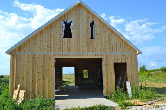True board and batten barn siding (Barn raising progress ...