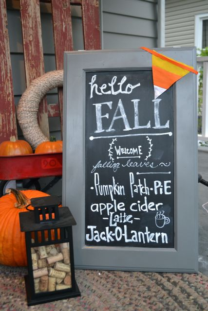 Fall chalkboard sign craft cabinets2