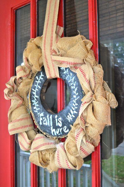 Burlap chalkboard tree slice wreath2
