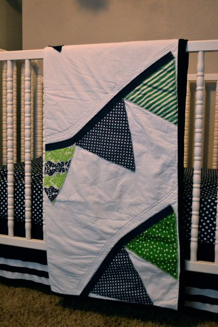 Custom navy green pennant quilt2