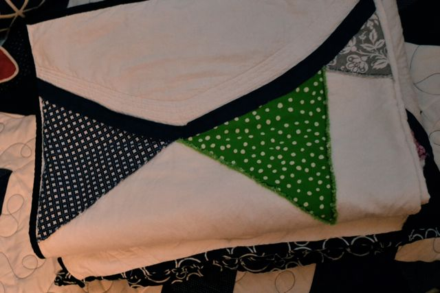 Custom navy green pennant quilt5