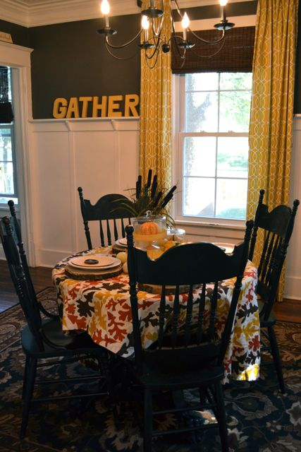 Dining Room Table Fall Yellow Tree Slices3