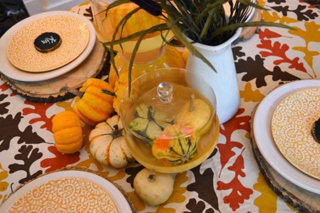 Dining Room Table Fall Yellow Tree Slices7