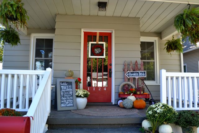 Outside Front Porch Fall Red6
