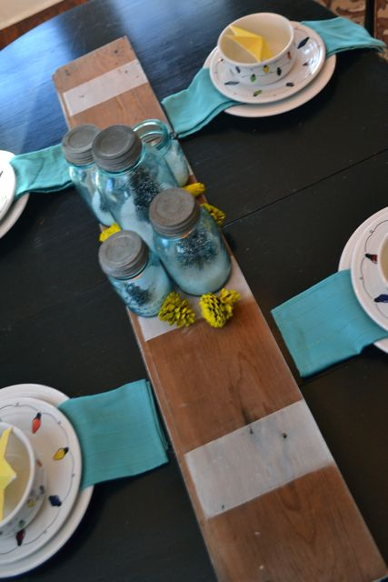 Barn wood striped table runner5