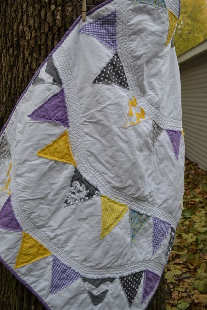 Purple and yellow pennant quilt2