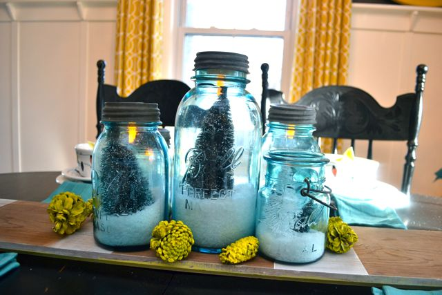 Blue Ball Jar Christmas Table2