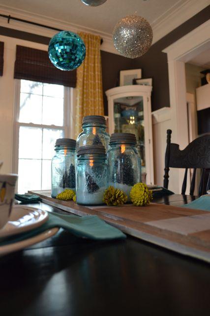 Blue Ball Jar Christmas Table6