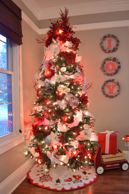 Christmas Trees Decorated With Red Ribbon