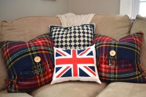 English plaid wool throw pillows