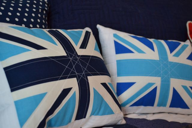 Union Jack quilted pillows2
