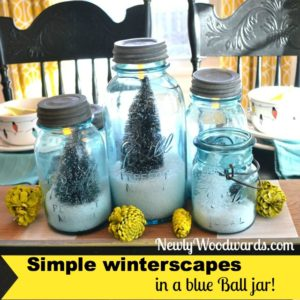 Blue Ball jar snow scenes and origami stars