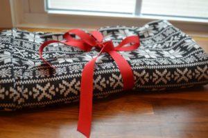 A fair isle knit infinity scarf