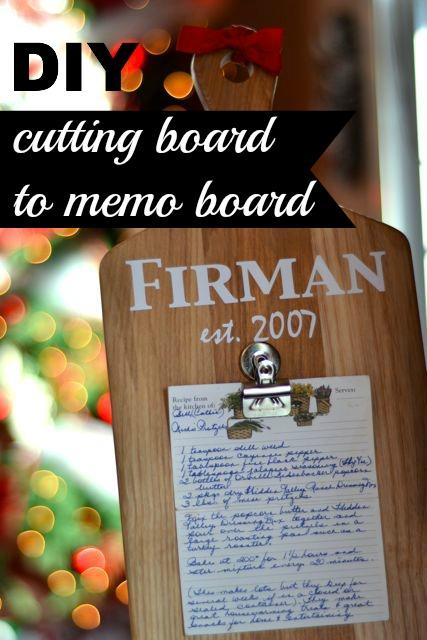 Cutting board memo board