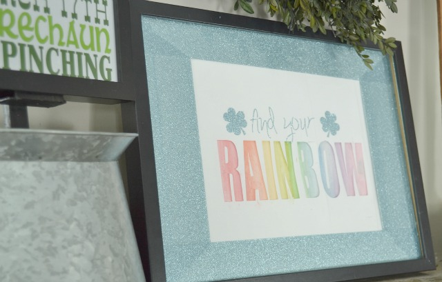 Find your rainbow watercolor artwork with glitter mat