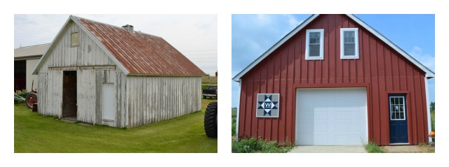 Barn before and after