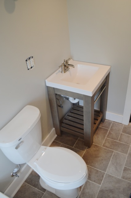 Popular bathroom vanity and toilet gray