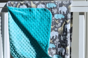 A elephant inspired baby minky blanket
