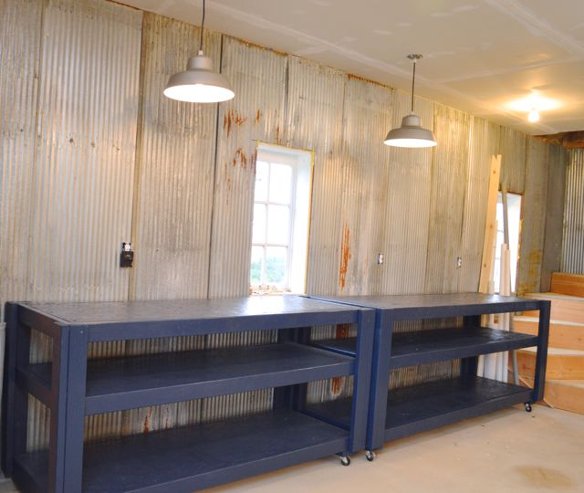 Rolling DIY workbench storage navy blue Behr Starless Night1