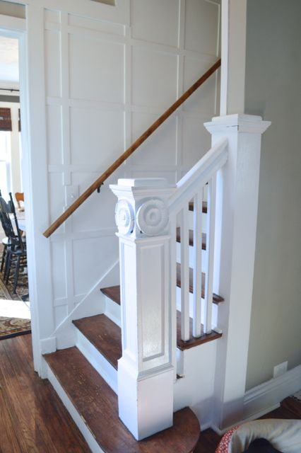 White and wood staircase remodel newlywoodwards.com2