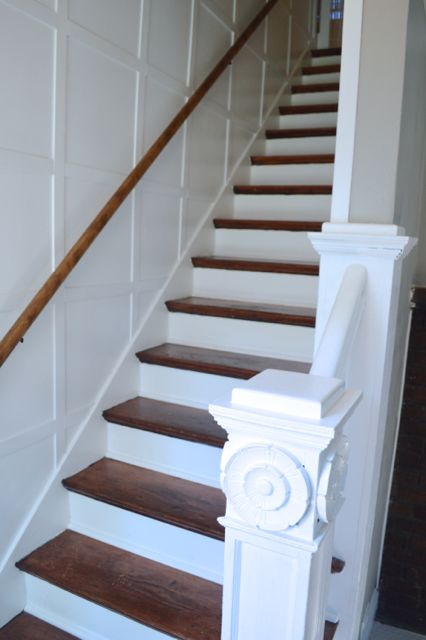 staircase wood and white wainscoting newlywoodwards.com1
