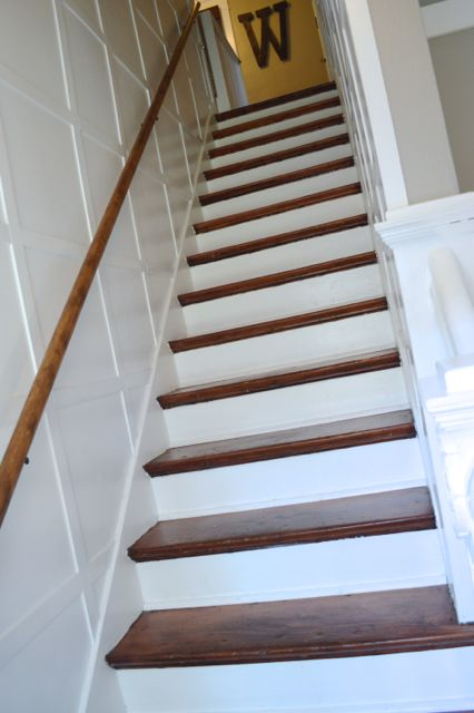 staircase wood and white wainscoting newlywoodwards.com2