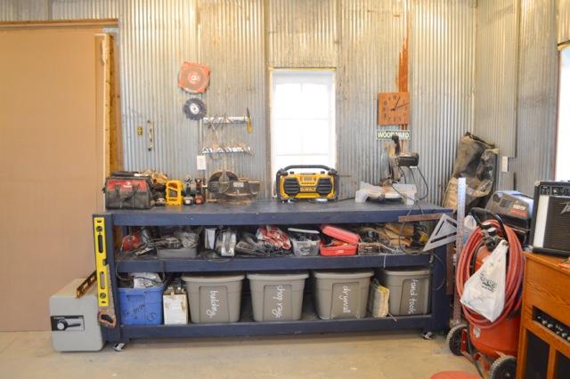 Barn garage workspace reveal NewlyWoodwards17