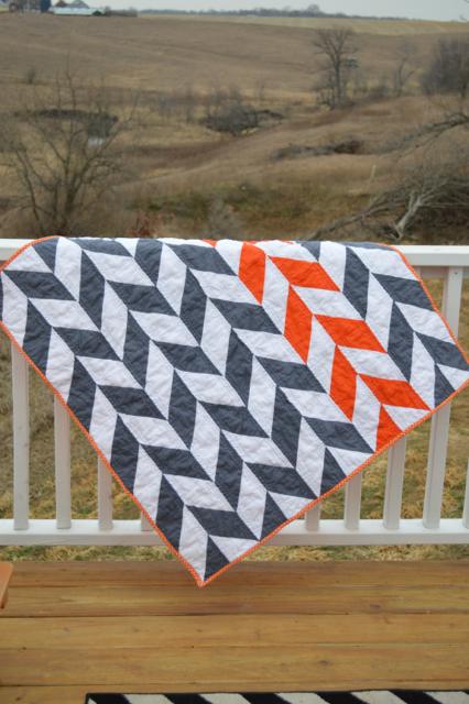 Orange and gray herringbone quilt1