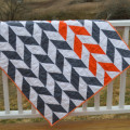 Orange and gray herringbone quilt2