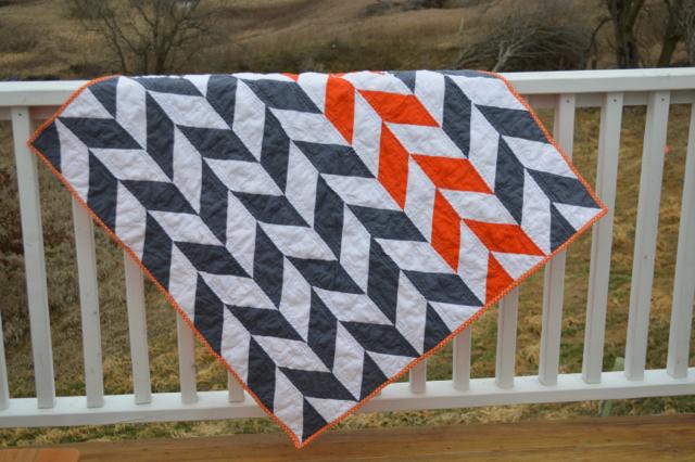 Orange and gray herringbone quilt2