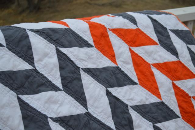 Orange and gray herringbone quilt3