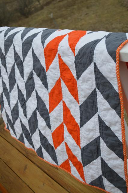 Orange and gray herringbone quilt4