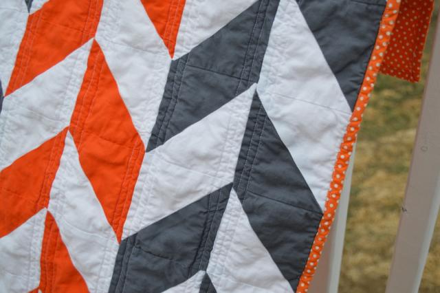 Orange and gray herringbone quilt5
