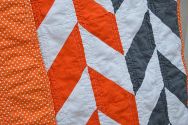 Orange and gray herringbone quilt6