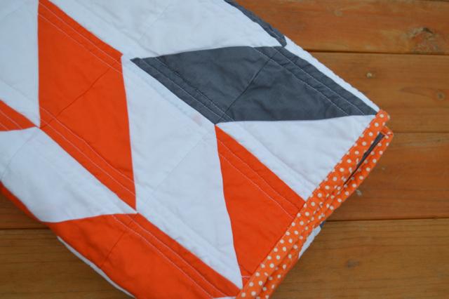 Orange and gray herringbone quilt7