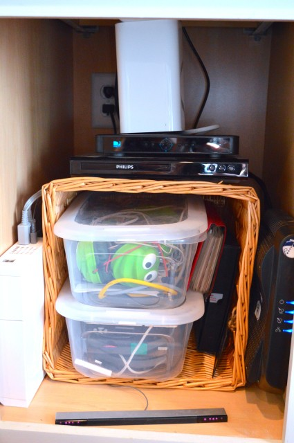 Electronics storage with a basket1