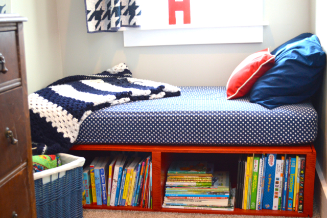 Trend red toddler platform storage bed
