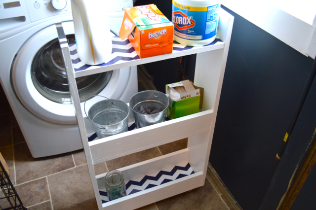 striped DIY rolling laundry cart2