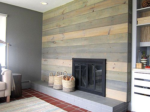 plank wood fireplace