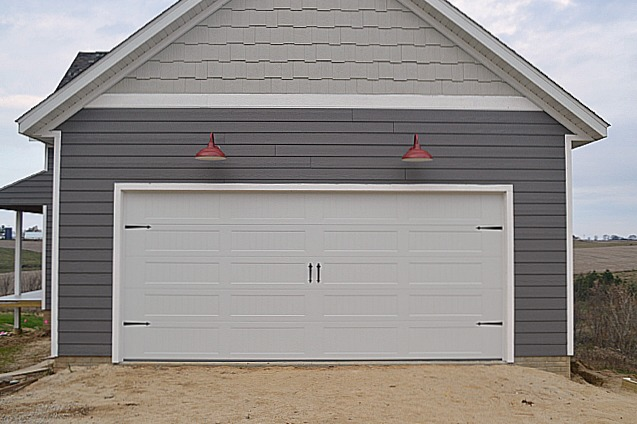 New carriage garage door and red barn lights1 & A carriage garage door and red barn lights - NewlyWoodwards