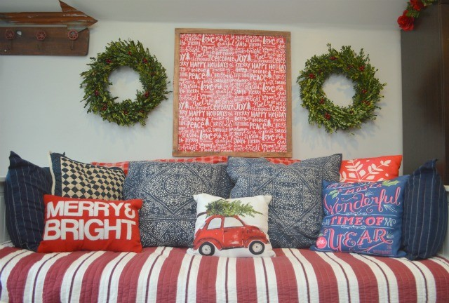 Oversized DIY holiday wall art from wrapping paper - NewlyWoodwards