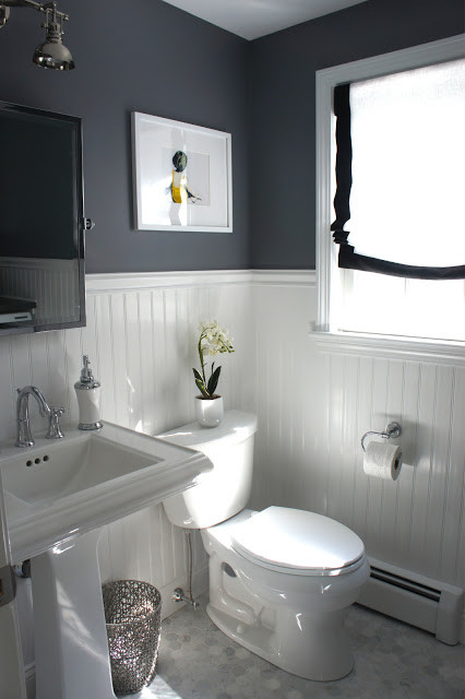 Nice Lovely bathroom with contrast via Home with Baxter