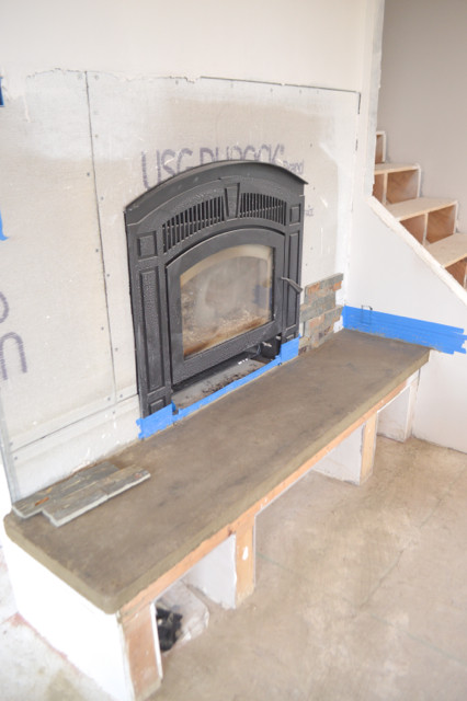 DIY Fireplace with stacked stone and concrete2